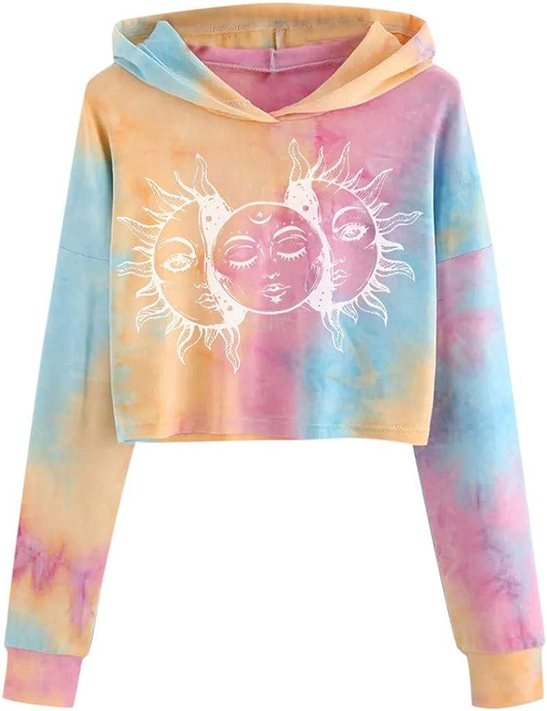 Women Teen Girls Crop Sweatshirts Tie Dye Crop Tops Hoodies Cute Long Sleeve Lightweight Sweatshirt Pullover