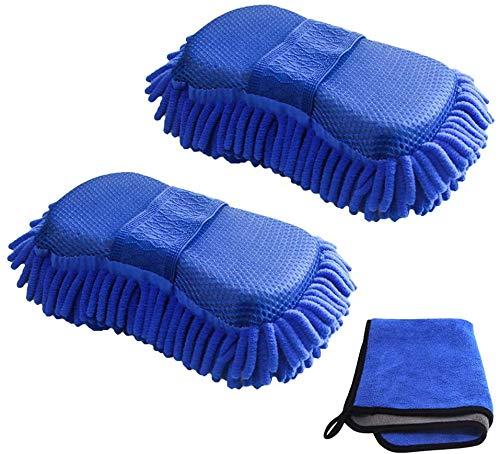 Ouduess Chenille Autowaschschwamm-Handtuch-Kit, saugfähig, weich, kratzfrei Waschhandschuh für Auto- und Haushaltsküchen Hausreinigung Pflegezubehör, blau (2 Autowaschschwämme + 1 Handtuch)