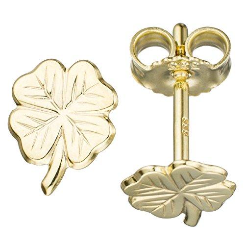 JOBO Kinder Ohrstecker Kleeblatt 333 Gold Gelbgold Ohrringe Goldohrringe