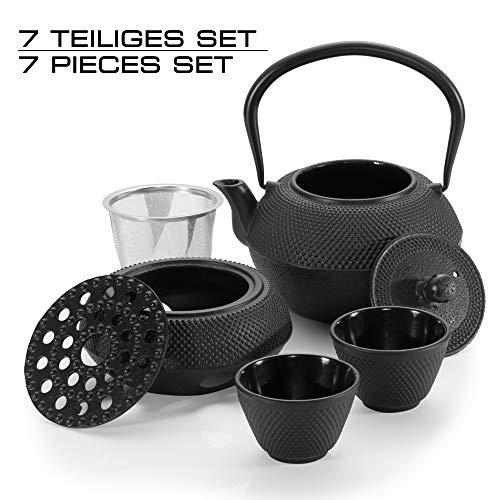 Dimono Traditionelles Tee-Set aus Gusseisen: Teekanne, Stövchen und 2 Teebecher