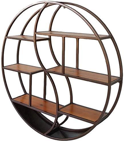 Runder Rahmen Regal aus Holz und Metall Wandregal Kubus schwebenden Regal für Schlafzimmer Büro oder Küchenzeile Dekoration, Retro industrieller Stil,68×16×68cm