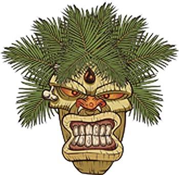 Evil Angry Monkey Face Hawaiian Tiki Totem Pole Cartoon Vinyl Decal Sticker  4  Tall