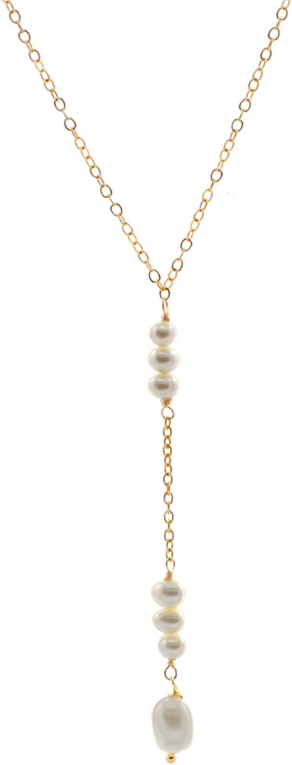 14k Carat Gold Filled Cable Chain Y-Necklace with Pearl Drop Center, 18