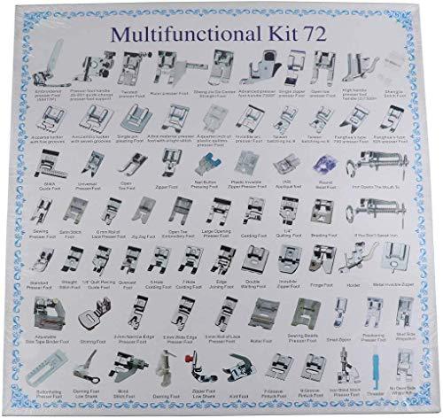 Juego de 72 prensatelas para máquina de coser doméstica, para máquinas de coser Brother, Babylock, Singer, Janome, Elna, Toyota, New Home, Simplicity, Necchi, Kenmore y White Low Shank