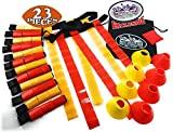 Matty's Toy Stop Deluxe 14-Man Flag Football Set with 7 Yellow Belts, 7 Red Belts, 4 Yellow Cones, 4 Red Cones, 1 Red Beanbag Flag & Storage Bag