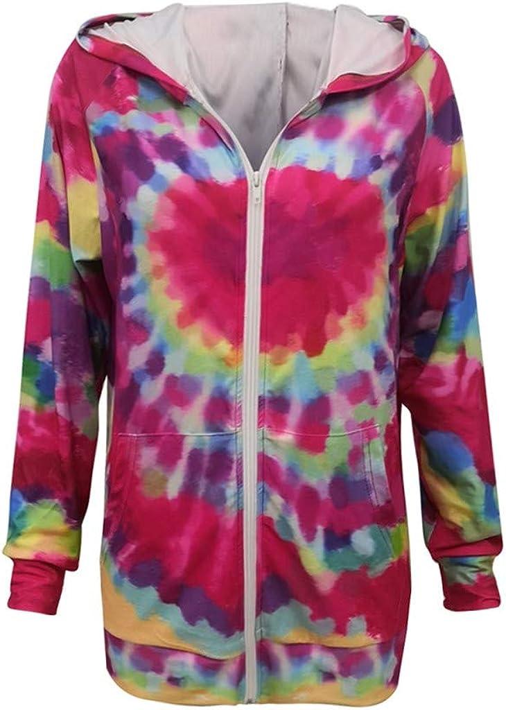 XUETON Women Cheap mail order shopping Long Sleeve Casual Ranking TOP12 Tops Tie-Dye Fashion Zipper Hood