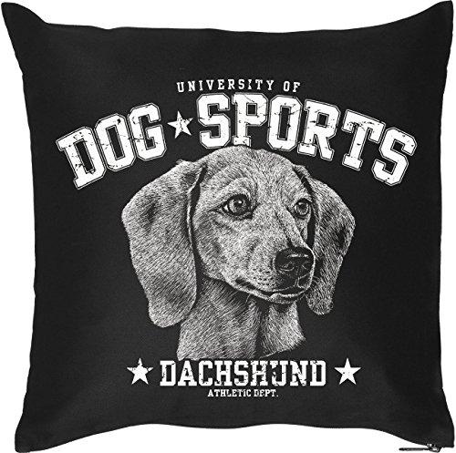 Schöner Hunde Kissenbezug in schwarz: DOG SPORTS - Dachshund, für Hundefans, Hundeschulen und fürs Körbchen