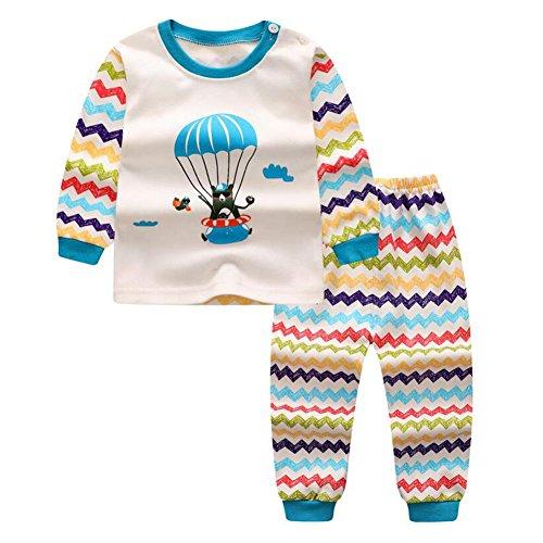 Meedot Meedot Pyjama Set für Baby, 2 Stück Baumwolle Langarm Winter Warm Nachtwäsche für 0-5 Jahre alt Kinder