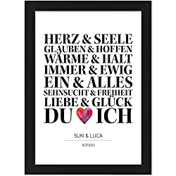 Personalisiertes Poster, DU und ICH, Größe 21x30 cm, BILD MIT RAHMEN (schwarz) Geschenk für Sie oder Ihn zum Hochzeitstag, Valentinstag, Jahrestag oder als Liebeserklärung