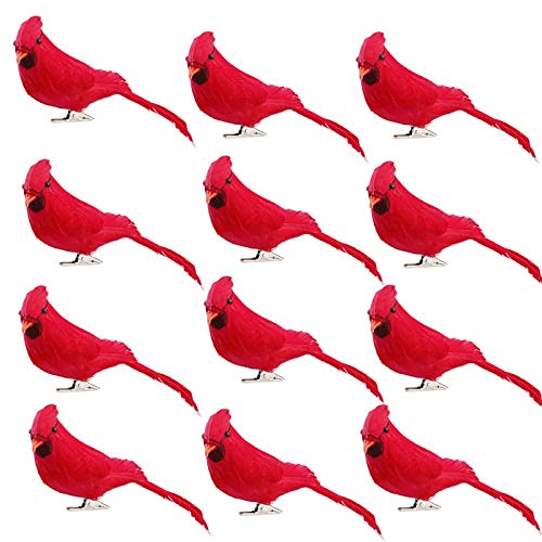 T-REASURE 12Pcs Artificial Feathered Birds, Red Mouth Simulation Foam Birds Clip-on Christmas Tree Ornament Small Bird Figurine for Home Garden Wedding Decor