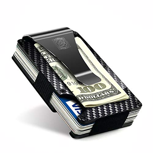 Carbon Fiber Wallet - Credit Card Holder with Money Clip - Aluminum RFID Protection - Cool Slim Minimalist Design - Best for Men - Mens Accessories