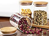 Cloudsell Borosilicate Glass jar with Bamboo Lid, (1000 ml) Kitchen Canisters for Sugar,Candy