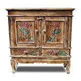 Oriental Galerie Schrank Kommode Sideboard Flurschrank Dielenschrank Telefonschrank Blumen Lotus 85cm Braun Color W/W