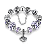 xinMarJ Purple Crystal DIY Bracelet Set Gem Alloy Pulsera Mujer Regalo