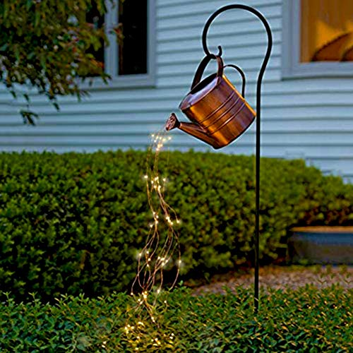 Star Shower Garden Art Light Decoration 35INCH Led String Lights Hanging Garden Lights Star Garden Art Light Durable for Patio Porch Lawn Yard Art Light Accessories Decorations (with Bracket, 1 Set)