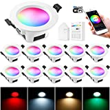 10 focos LED empotrables con WiFi, Bluetooth, 9 W, 230 V, RGBW, CCT, intensidad regulable, 16 millones de colores, con Smart Panel Smart Bridge, compatible con Alexa Google Home