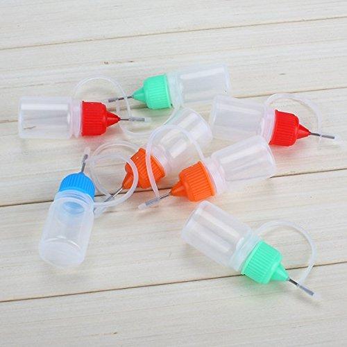 50 Assortiment de couleurs 5 ml vide en plastique souple liquide flacon compte-gouttes Pointe aiguille + Boucle