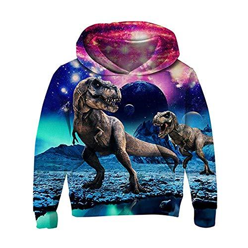 AIDEAONE Jungen Mädchen Fleece Pullover 3D Print Dinosaurier Pullover Sweatshirts Kapuzen Pullover