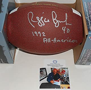 Reggie Brooks Notre Dame Signed NCAA Football 1992 All American