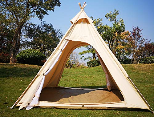 Latourreg 2 Person Outdoor Camping of 2M Canvas Camping Pyramid Tent Large Adult Teepee Pagoda Tent