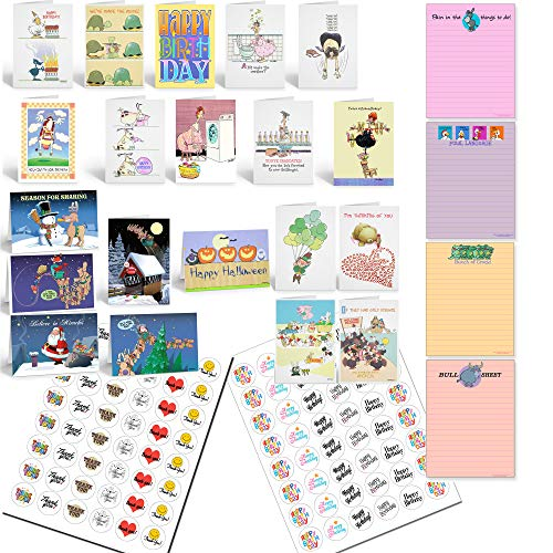 All Occasion Funny Card Variety Pack PLUS Funny Notepads PLUS Birthday and Thank you Stickers-Bulk Boxed Set Funny Cards, Pads, Stickers