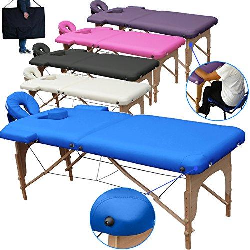 Beltom Camilla de Masaje 2 Zonas portatil Mesa Cama Banco Plegable Reiki Fsioterapeuta - Azul