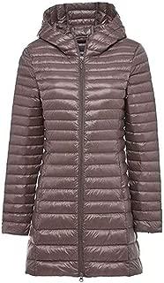 Thin Down Jacket, Female mid-Length Ladies Fashion Winter Jacket, Thin Mother Dress,Khaki,2XL