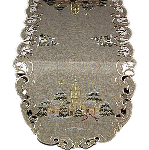 Espamira Tischdecke Weihnachten Winter Grün Winterlandschaft Kirche Weihnachtsläufer (Tischläufer 45x110 cm oval)