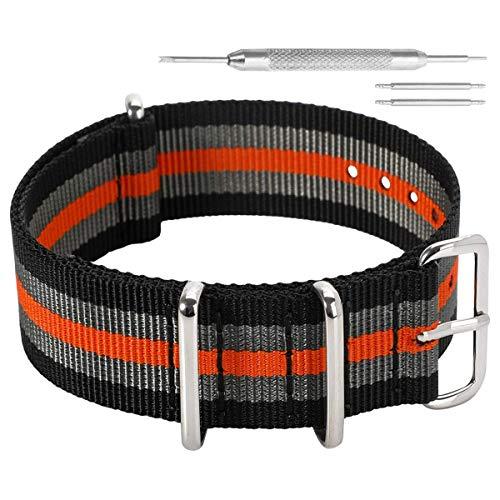 22 millimetri nero/grigio/arancio Premium deluxe stile robusto nylon sportivo da polso cinturino banda orologio da uomo esotico