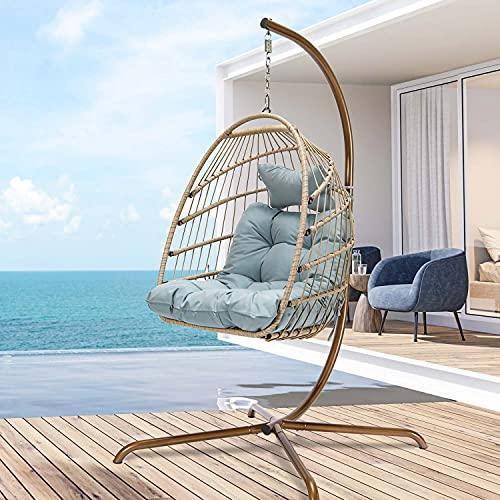 Swing Egg Chair with Stand Indoor Outdoor Wicker Rattan Patio Basket Hanging Chair with UV Resistant Cushions Aluminum Frame 350lbs Capaticy for Bedroom Balcony Patio (Blue)