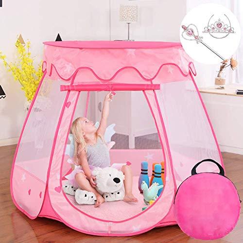 LITI Kinder Spielzelt Bällebad Pop Up Spielhaus Prinzessin Haus für im Innen- und Außenbereich (Rosa)