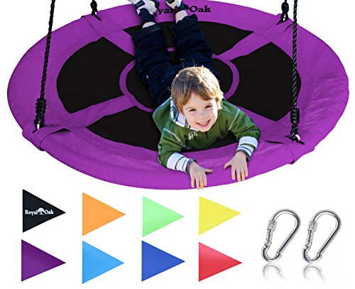 Royal Oak Saucer Tree Swing,Giant 40 Inches with Carabiners and Flags, 700 lb Weight Capacity, Steel Frame, Waterproof, Easy to Install with Step by Step Instructions, Non-Stop Fun!