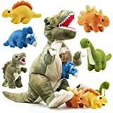 Prextex Plushlings Collection 15 inch Plush Dinosaur T-Rex Tummy Carrier with 5 Cute Little Hatchlings Inside its Zippered Tummy Great Set for Kids