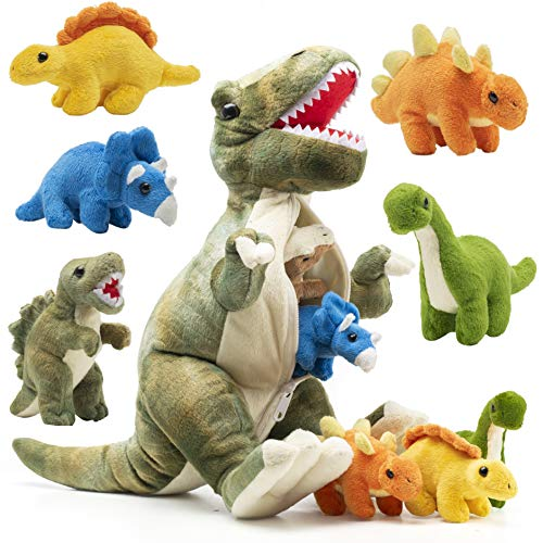Prextex 15 inch Plush Dinosaur T-Rex Tummy Carrier with 5 Cute Little Hatchlings Inside its Zippered Tummy Great Set for Kids