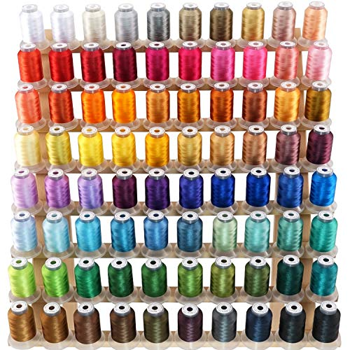 New brothread 80 Spools Polyester Embroidery Machine Thread Kit 500M (550Y) Each Spool - New Colors Assortment (Similar to Janome and RA Colors)