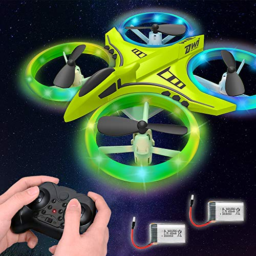 Dwi Dowellin Mini Drone for Kids with LED Lights One Key Take Off Landing Flips RC Remote Control Small Flying Toys Drones for Beginners Boys and Girls Adults Nano Quadcopter, Green