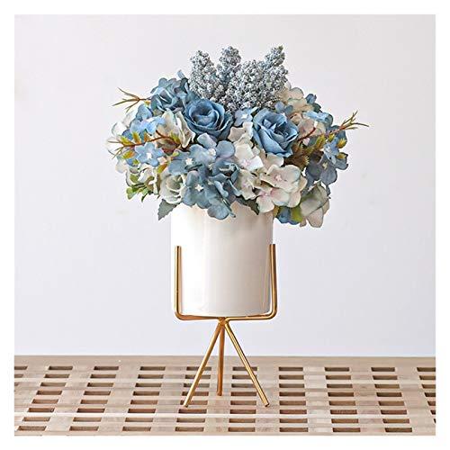 Plantas artificiale Flor de seda artificial con jarrón de cerámica, flores de navidad en florero de cerámica pequeño, decoración de la mesa de decoración para la sala de estar, sala de estudio, oficin