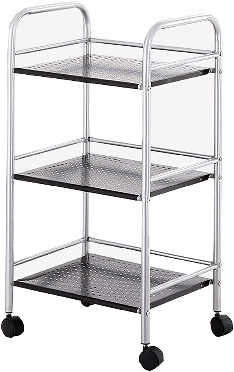 Kitchen Racks, Small Carts with Wheels for Easy Movement, Carbon Steel Rust-Proof and Waterproof No Deformation, Microwave Oven Racks Kitchen Utensils Storage Shelves