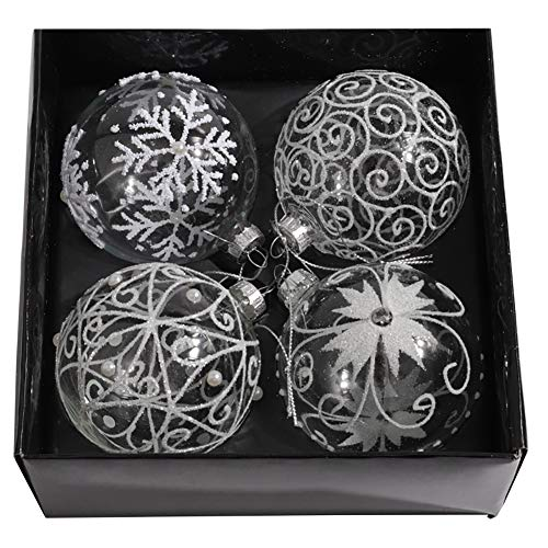 Warmiehomy 4 Palline Trasparenti per Decorare L'Albero di Natale Bauble Porta Applique Ornamenti Decorazioni Albero Palle Decorative Festa per Matrimoni Forniture, Diametro 8 cm