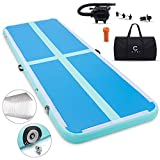 CIIHI 10ft Air Track 4 inches Inflatable Gymnastics Mat Floor Tumbling Mat for Martial Arts Cheerleading Tumble Track with Electric Pump for Home Use/Training/Beach (10 ft X 3.28 ft X 4 in)