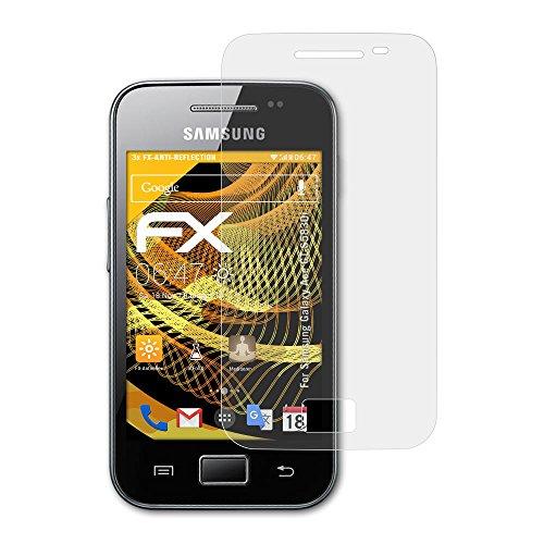 atFoliX Película Protectora Compatible con Samsung Galaxy Ace GT-S5830i Lámina Protectora de Pantalla, antirreflejos y amortiguadores FX Protector Película (3X)