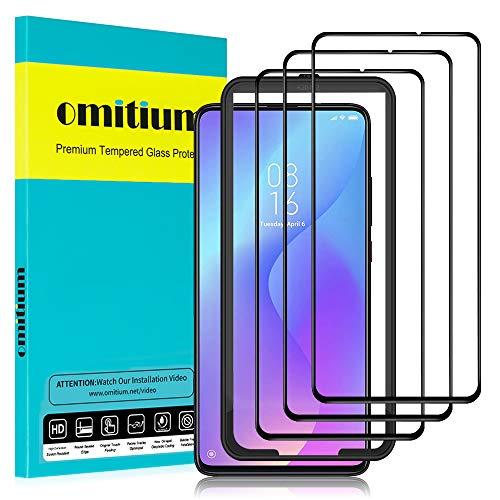 """omitium Protector Pantalla para Xiaomi Mi 9T, [3 Pack] Xiaomi Mi 9T Cristal Templado [Cobertura máxima][ [Marco Instalación Fácil] Sin Burbujas Dureza 9H Vidrio Templado Xiaomi Mi 9T, 6,39"""""""