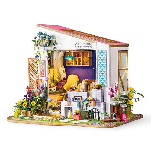 Doll House Mini Lily's Porch Modelado DIY Set Bolsa de herramientas de madera Casa de muñecas hecha a mano Decoración de juguetes Adecuada para niños y niñas, 271 * 203 * 220 mm