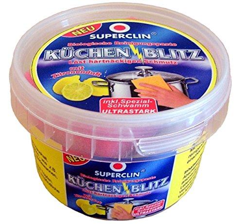 Superclin - Küchenblitz - 200 g - Biologische Reinigungspaste - Löst hartnäckigen Schmutz mit Zitronenduft