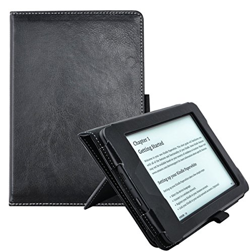 TsuiWah Case for Kindle Paperwhite - Vegan Leather [Hand Strap] Stand Protective Cover Cases for Amazon Kindle Paperwhite with Auto Sleep/Wake(Fits All 2012, 2013, 2015 and 2016 Versions),Black