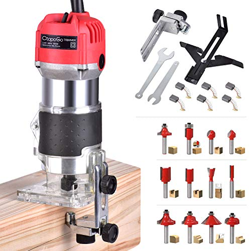 "CtopoGo Compact Wood Palm Router Tool Hand Trimmer WoodWorking Joiner Cutting Palmming Tool 30000R/MIN 800W 110V with 12PCS 1/4"" Router Bits"