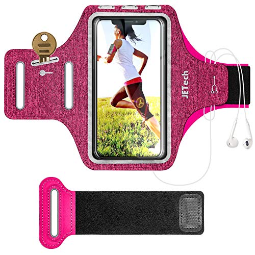 JETech Cell Phone Armband Case for iPhone SE(2020)/11/11 Pro/XR/XS/X/8 Plus/7 Plus/8/7/6s/6, Galaxy S10/S9/S9+, Adjustable Band, w/Key Holder and Card Slot, for Running, Walking, Hiking (Rose)
