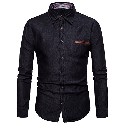 LOCALMODE Men's Casual Dress Shirt Button Down Shirts Fashion Denim Shirt Black...