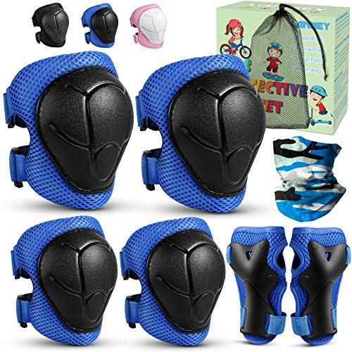 Kids Kneepads and Elbow Pads Protective Gear Set Knee Pads with Wrist Guards for 3-8 Years Kids Toddlers Youth Boys Girls, Rollerblading Skateboard Skating Cycling Bike Sports, 6 in 1, Blue with Black