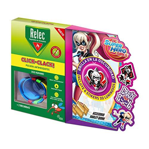 Relec Pulsera Antimosquitos Harley Quinn - Eficaz contra el mosquito tigre, Resistente al agua, Contiene 2 recargas